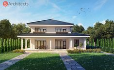 "Проект на къща ""Милениум"", с.Белащица House Outside Design, Small House Design, Guest House Plans, Modern Mediterranean Homes, Round House, Facade House, Home Design Plans, Cozy House, My Dream Home"