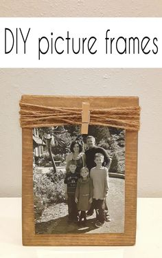 Turn pieces of wood into rustic picture frames with this easy DIY from CrazyDiyMom. Diy Home Decor Projects, Cool Diy Projects, Diy Room Decor, Rustic Picture Frames, Picture On Wood, Diy Wood Signs, Diy Crafts To Sell, Diys, Easy Diy
