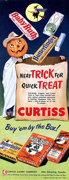 Halloween Trick or Treat  - Butterfinger, Baby Ruth, Saf -T-pops, vintage Curtiss ad