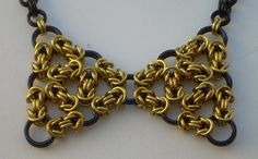 Lacy Byzantine Chainmaille Bowtie Necklace Gold by MissChester