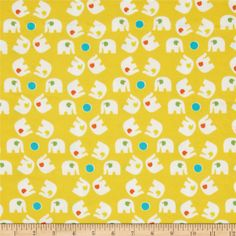 Savanna Bop Flannel Small Tossed Elephants Yellow from @fabricdotcom  Designed by Thomas Knauer for Andover Fabrics, this soft double napped (brushed on both sides) flannel fabric is perfect for quilting and apparel. Colors include turquoise, dark orange, yellow and white.