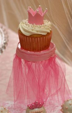 Cute Princess Cupcake ~ love the little stand ~  from Hostess with the Mostess® - A Pink & Yellow Princess Tea Party