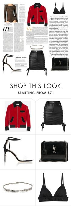 """Untitled #488"" by gezelxizv ❤ liked on Polyvore featuring Yves Saint Laurent, Versus, Manolo Blahnik, Suzanne Kalan and Calvin Klein"