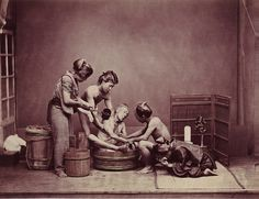 Washing the body of their dead father
