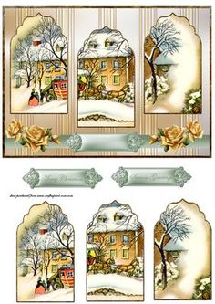 Vintage Christmas panel card on Craftsuprint designed by Angela Wake - Vintage… Christmas Decoupage, Christmas Card Crafts, 3d Christmas, Christmas Printables, Christmas Balls, Holiday Crafts, Vintage Christmas, Christmas Ornaments, 3d Cards
