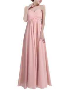 4d6bcdb9796b iiniim Womens Strapless Chiffon Party Prom Gowns Bridesmaids Long Evening  Dress Blush Pink US Size 14