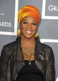 Head scarves are so hot right now...  (This is India Arie... who doesn't have BC, as far as I know.)