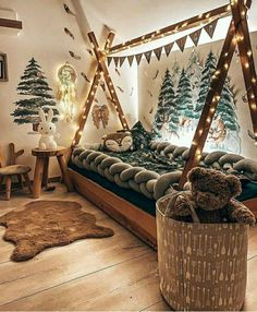 Toddler Rooms, Baby Boy Rooms, Toddler Bed, Kid Rooms, Magical Bedroom, Forest Bedroom, Dream Bedroom, Forest Theme Bedrooms, Woodland Theme Bedroom