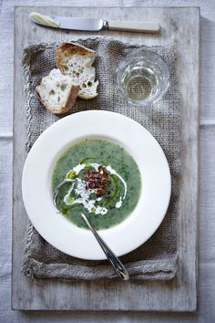 Watercress Soup with Pear & Pancetta