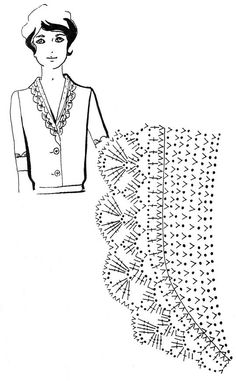 Mustrilaegas: Kraed ja kaelaaugud / Collars and necklines Crochet Collar Pattern, Col Crochet, Crochet Lace Collar, Crochet Lace Edging, Crochet Borders, Crochet Diagram, Crochet Blouse, Crochet Chart, Thread Crochet