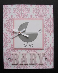 Handmade Pink & White Damask Baby Girl Carriage Card perfect for Baby Shower Welcome New Baby
