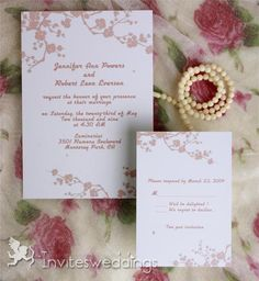 Wedding Invitations Online Beautiful Pink Plum Blossom Wedding Invitations IWI233 - These lovely pink blossoms looks like a beautiful landscape painting, it's a perfect design for pink theme wedding.