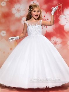 Cupids F405.  Flower girl tulle ball gown with bead edged bateau neckline, re-embroidered lace on bodice, and zipper back with wrapped buttons.  #flowergirl #dress #gown #azaria #azariabridal #weddings #celebration #event #fashion #love #ballgown #flower #girl