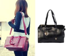 Leather Tote Handbag with Strap | Pyrefly