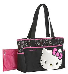 Hello Kitty Applique Front with Print Tote Diaper Bag