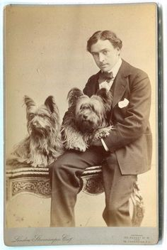ANTIQUE Cabinet Photograph of GENT w/ SKYE TERRIER  DOGS nr