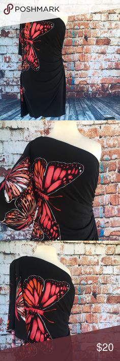 Stunning one-shoulder dress Absolutely beautiful black one-shoulder cocktail dress with large-scale red and orange butterflies. Very stretchy and comfortable! Dresses One Shoulder