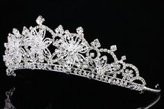 Snowflake Silver Wedding Pageant Bridal Headpiece Rhinestone Crystal Tiara V914 ebay store $25.99 plus $10 shipping+