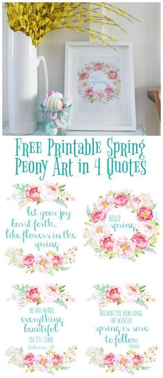 Free Printable Spring Peony Art & Easter Art If you want to add a little spring to your decor and love peonies as much as I do then you will love these free printable spring peony art in four quotes. Spring Decoration, Spring Home Decor, Spring Crafts, Floral Printables, Easter Printables, Free Printables, Easter Art, Easter Crafts, Scripture Art