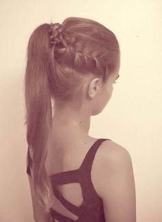 high ponytail + french braids