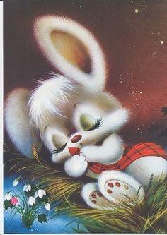 Bunny sleeping cards/scrapebooking påsk, djur e änglar