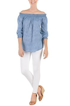 """Lightweight chambray cotton slub off-the-shoulder top features gathered elastic at neckline and three-quarter sleeve cuffs. Measures approximately 23"""" from shoulder to hem on size small. Chambray Top by Mud Pie. Clothing - Tops - Off The Shoulder New Jersey"""