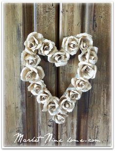 Lots of creative wreath ideas--paper roses heart shaped wreath