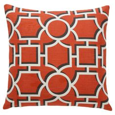 Crafted from persimmon-hued cotton and featuring a geometric motif, this stylish pillow is perfect for adding a pop of color to the guest bed or a neutral ar...