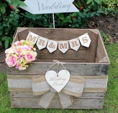 Vintage Wooden Wedding Cards Crate Post Box Rustic Shabby Chic Original Mr & Mrs