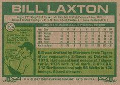 1977 Topps #394 Bill Laxton Back