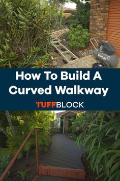 This curved deck was made possible by using Tuffblocks. TuffBlocks have an ultra low profile of only 2 inchs from the ground to the base where the joist or post sits. If you want to know more about our product please click the video. Deck Foundation, Easy Deck, Raised Deck, Make Build, Building A Deck, Walkway, Garden Tools, This Is Us, Decking Ideas