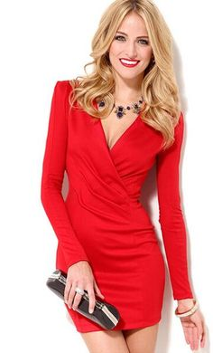 38a76ccf25a11 Deep V-Neck Long Sleeve Sexy Mini Semi Formal Dress