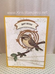 Stampin' With Kris: Best Birds - Stamping' Up! Bird Theme, Birthday Cards For Men, Bird Cards, Stamping Up Cards, Card Patterns, Baby Kind, Card Tutorials, Tampons, Little Birds