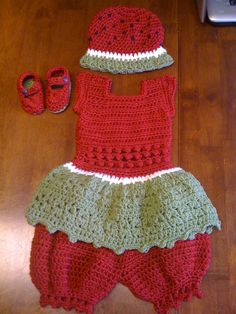 Newborn Watermelon Dress in Brick Red, White and Sage Green with Matching Brick Red Pantaloons, Watermelon Beanie and shoes.  Selling for $45.00 Plus Shipping and Handling.  Can also be seen on Facebook.