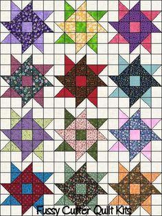 Scrappy Grab Bag Fabric Whirlygig Pinwheel Easy Patchwork Pattern Pre-Cut Quilt Blocks Squares Top Kit