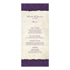 Purple Wedding Menu Purple Vintage Country Wedding Menu Card