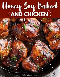 Honey Soy Baked Chicken is a 30 minute dinner that is sweet and savory in every juicy bite. This is one of my go-to chicken recipe for when I serve a crowd or want something a bit different. #soy #honey #baked #chicken #sticky #flavorful #best #30minute #dinner Honey Soy Chicken Thighs, Cafe Delites, Asian Recipes, Ethnic Recipes, Keto Recipes, Skinless Chicken Thighs, Chicken Thigh Recipes, Food Obsession, Baked Chicken