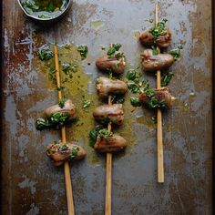 A simple and delicious way to take heart: skewered and dressed in a fresh herb vinaigrette.