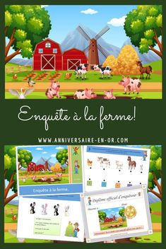 Conduct our survey on the farm ! It's up to you to find the culprit among the animals on the farm!anniversaire -… by anniversaireOr Web Animal, Shapes For Kids, Farm Animals, Table, Animation, Shopping, Disney Birthday, City Farm, Fruits For Kids