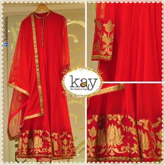 A sure-fire way to steal the show at special occasions is to wear bright colours. This red with minimal yet bright gold designed full sleeved anarkali will do just that! The dupatta is netted with a thin gold strip in the border. Indian Look, Indian Ethnic Wear, India Fashion, Asian Fashion, Latest Fashion, Pakistani Outfits, Indian Outfits, Tela Hindu, Desi Clothes
