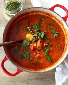 Red Pot of Italian Roasted Pepper and Tomato Soup with Pesto