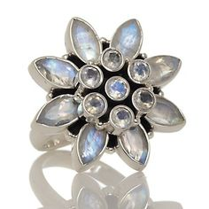 """Himalayan Gems™ Moonstone """"Flower"""" Sterling Silver Ring at HSN.com."""