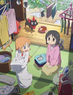 Nichijou (Anime Sub) Anime Ai, Kawaii Anime, Manga Anime, Otaku, Danshi Koukousei No Nichijou, Kyoto Animation, Ordinary Lives, Ghost In The Shell, Manga Illustration