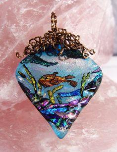 Ocean mini, pendant wrapped w/vintage bronze parawire