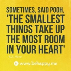 Sometimes, said Pooh,  'the smallest   things take up   the most room   in your heart'