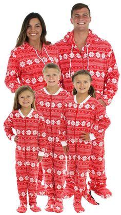 christmas footie pajamas for the family red fleece with white snowflakes matching