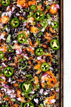 Loaded Sweet Potato Nachos   running with spoons Mexican Sweet Potatoes, Sweet Potato Nachos, Loaded Sweet Potato, Sweet Potato Recipes, Vegetarian Mexican, Vegetarian Recipes Easy, Healthy Recipes, Easy Weekday Meals, Bunny Party