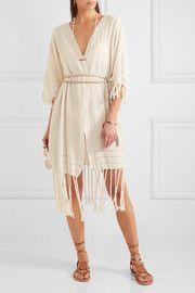 Olympia fringed basketweave cotton wrap dress