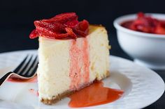 New York-Style Cheesecake Recipe Try to create just a little less juice with the strawberry sauce