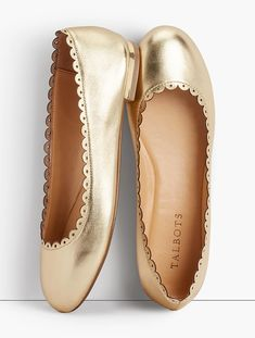 Shop Talbots for modern classic women's styles. You'll be a standout in our Penelope Scalloped Ballet Flats - Metallic Napa Leather - only at Talbots! Metallic Flats, Gold Flats, Shoe Wardrobe, Napa Leather, Classic Style Women, Clearance Shoes, Black Pumps, Cute Shoes, Boots